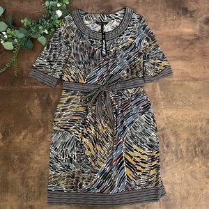 BCBGMaxazria Multiprint Waist Tie Dress | Size L